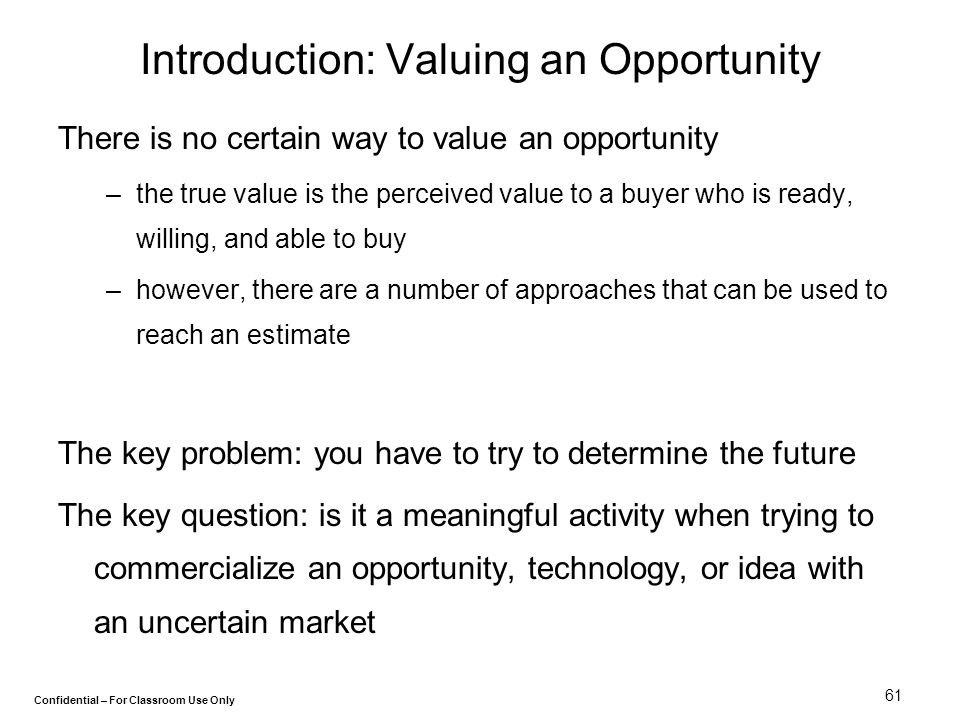 Introduction: Valuing an Opportunity