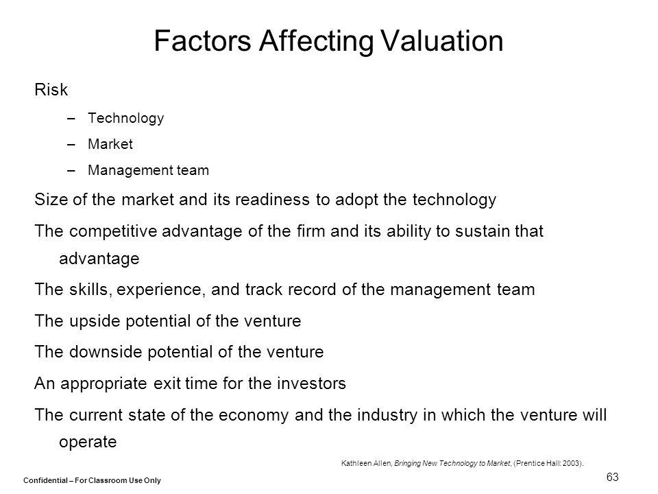 Factors Affecting Valuation