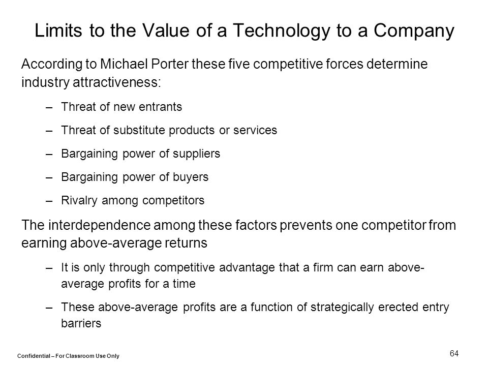 Limits to the Value of a Technology to a Company