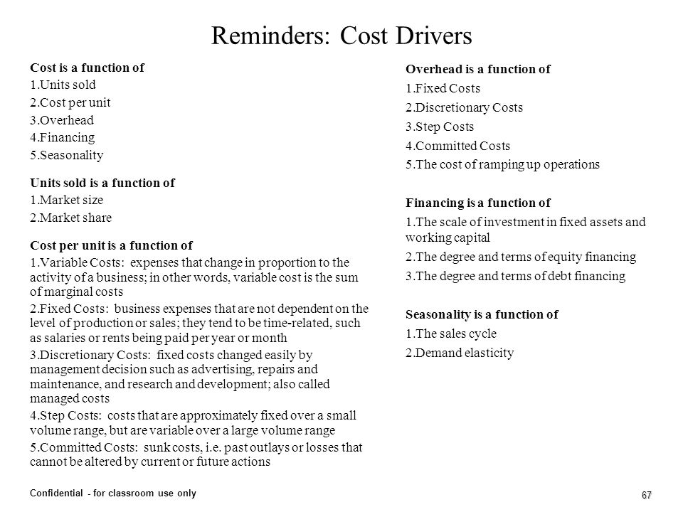 Reminders: Cost Drivers