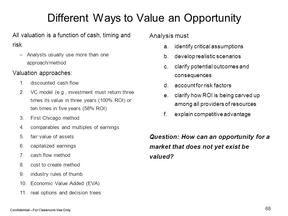Different Ways to Value an Opportunity