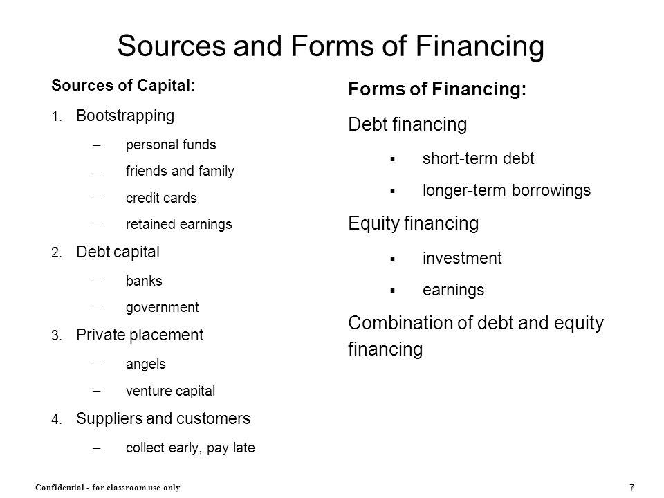 Sources and Forms of Financing