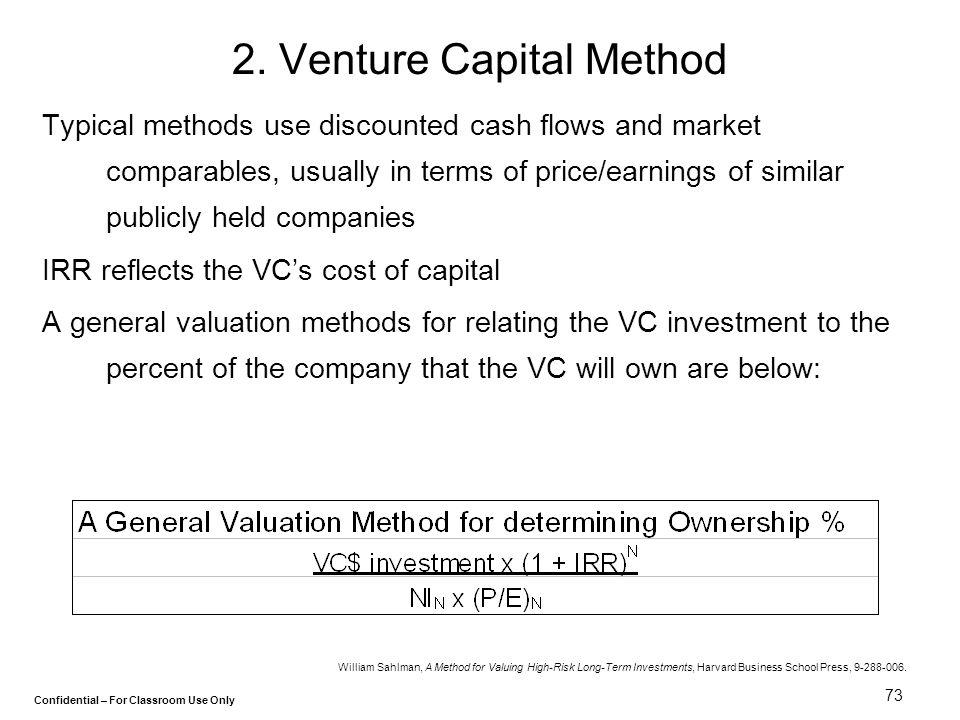 2. Venture Capital Method