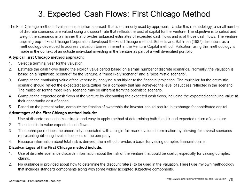 3. Expected Cash Flows: First Chicago Method