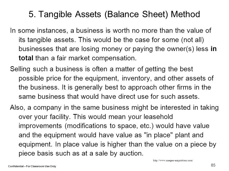 5. Tangible Assets (Balance Sheet) Method