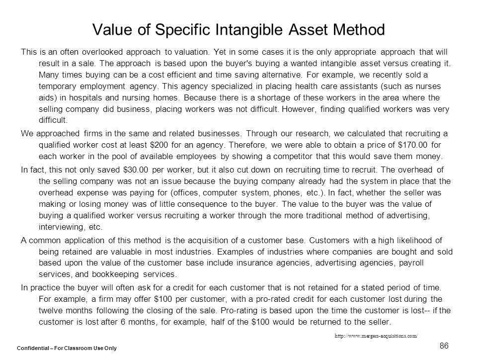 Value of Specific Intangible Asset Method