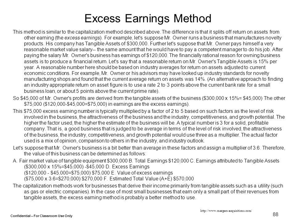 Excess Earnings Method