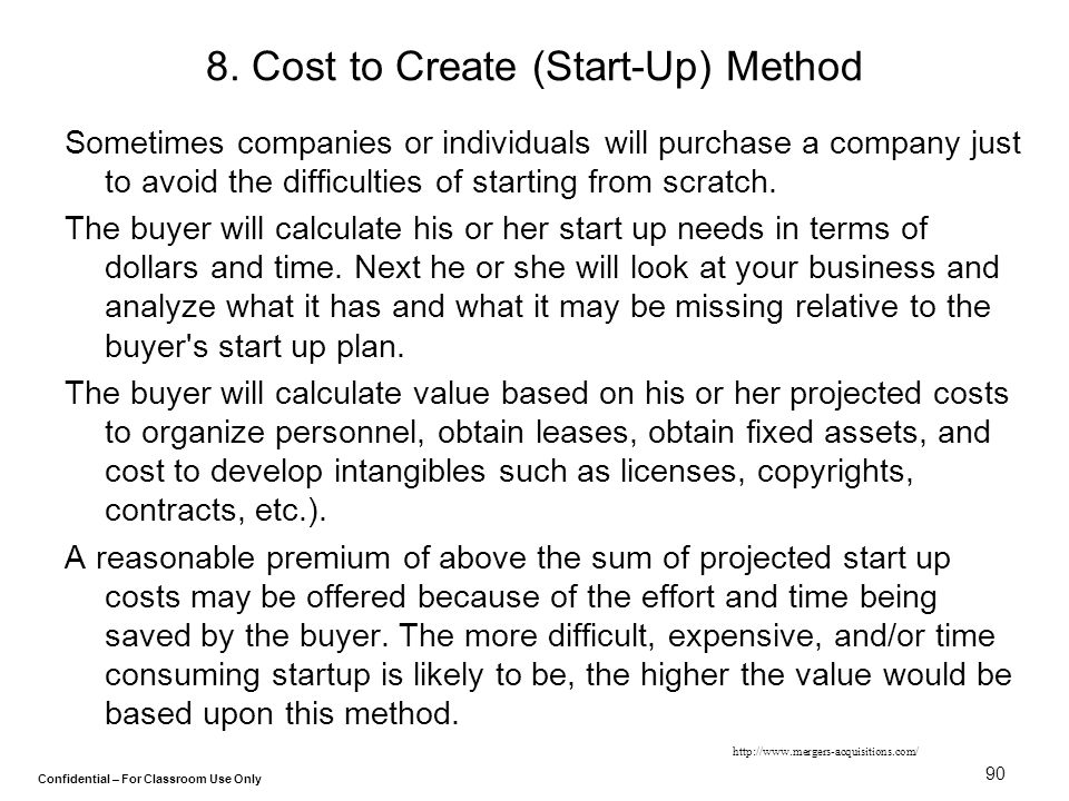 8. Cost to Create (Start-Up) Method