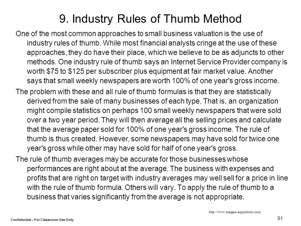 9. Industry Rules of Thumb Method