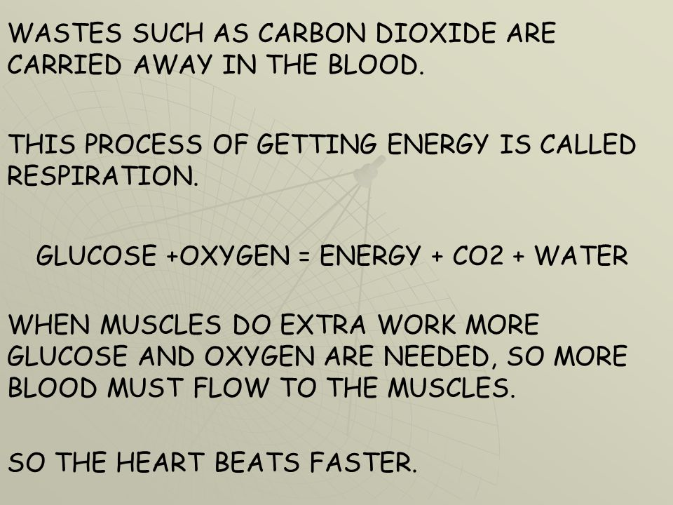 WASTES SUCH AS CARBON DIOXIDE ARE CARRIED AWAY IN THE BLOOD.