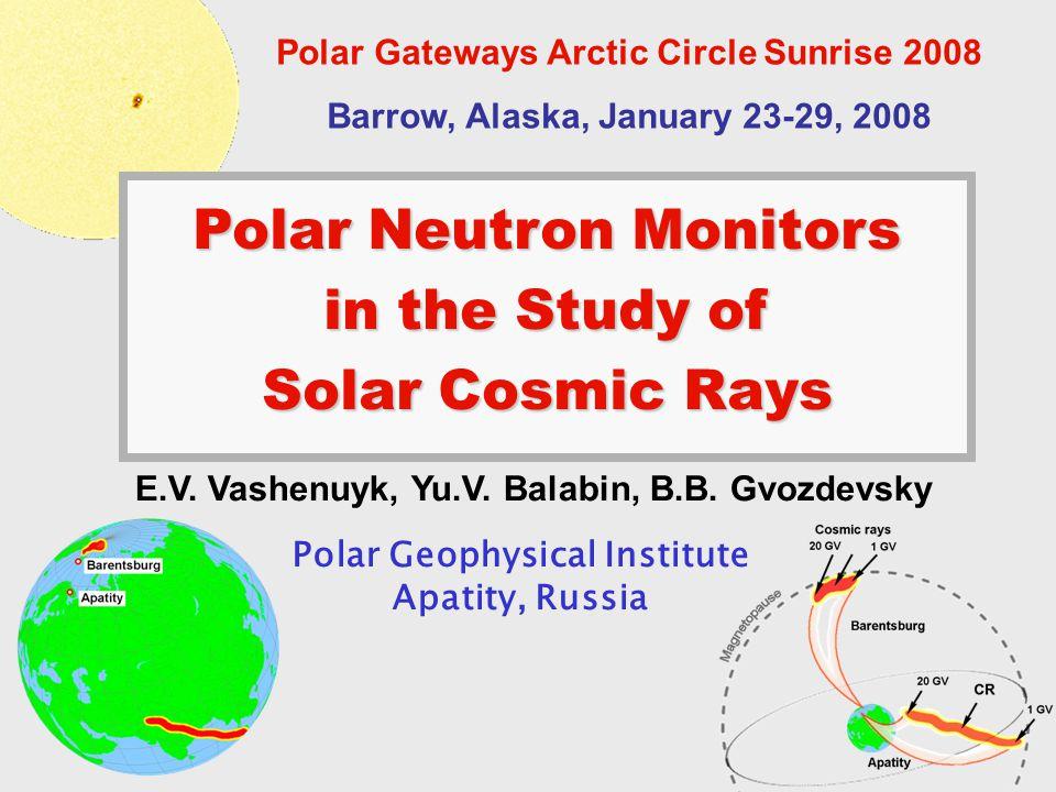 Polar Neutron Monitors in the Study of Solar Cosmic Rays