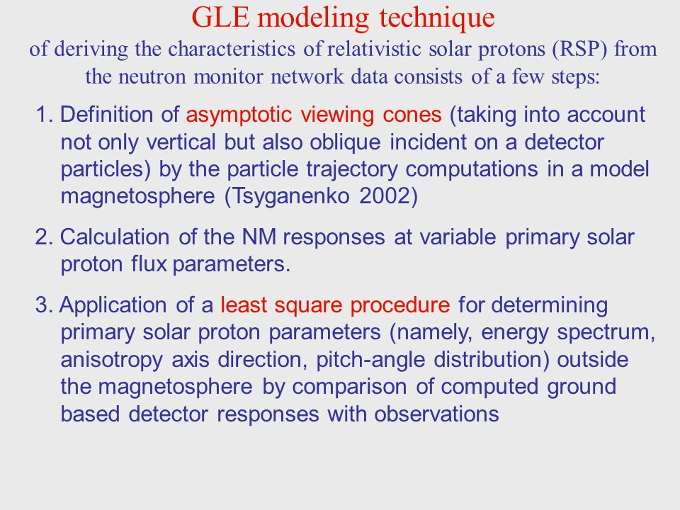 GLE modeling technique of deriving the characteristics of relativistic solar protons (RSP) from the neutron monitor network data consists of a few steps: