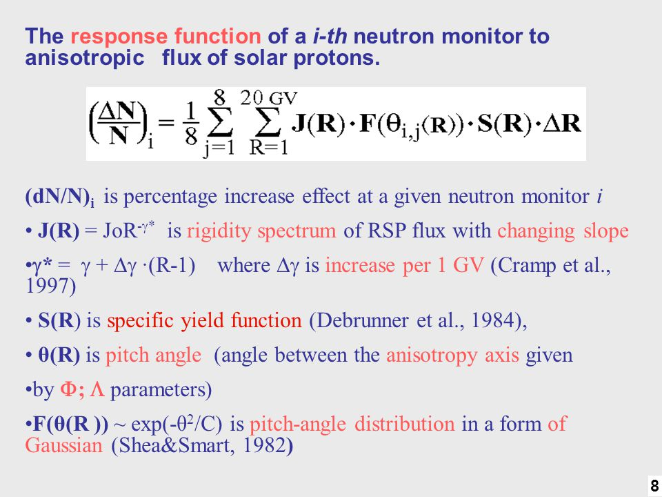 (dN/N)i is percentage increase effect at a given neutron monitor i