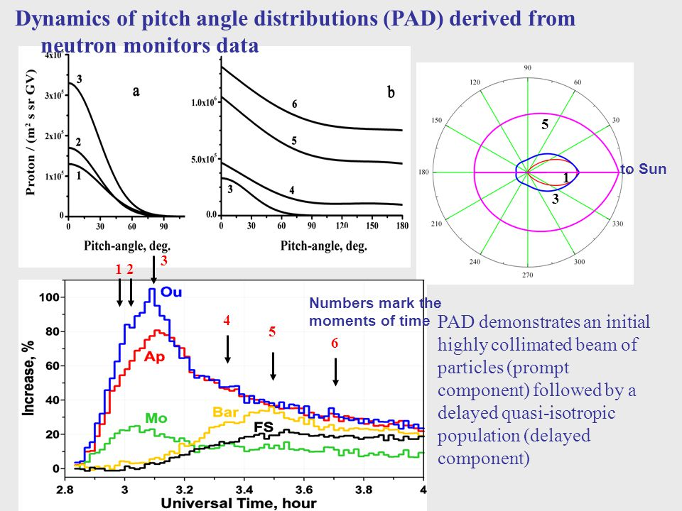 Dynamics of pitch angle distributions (PAD) derived from neutron monitors data