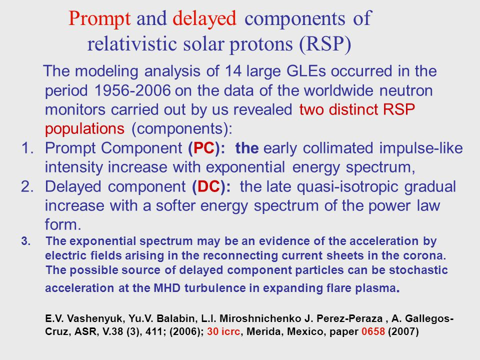 Prompt and delayed components of relativistic solar protons (RSP)