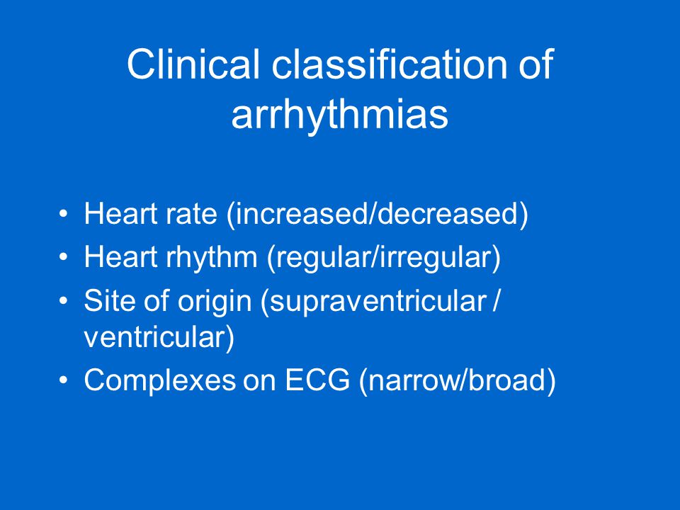 Clinical classification of arrhythmias