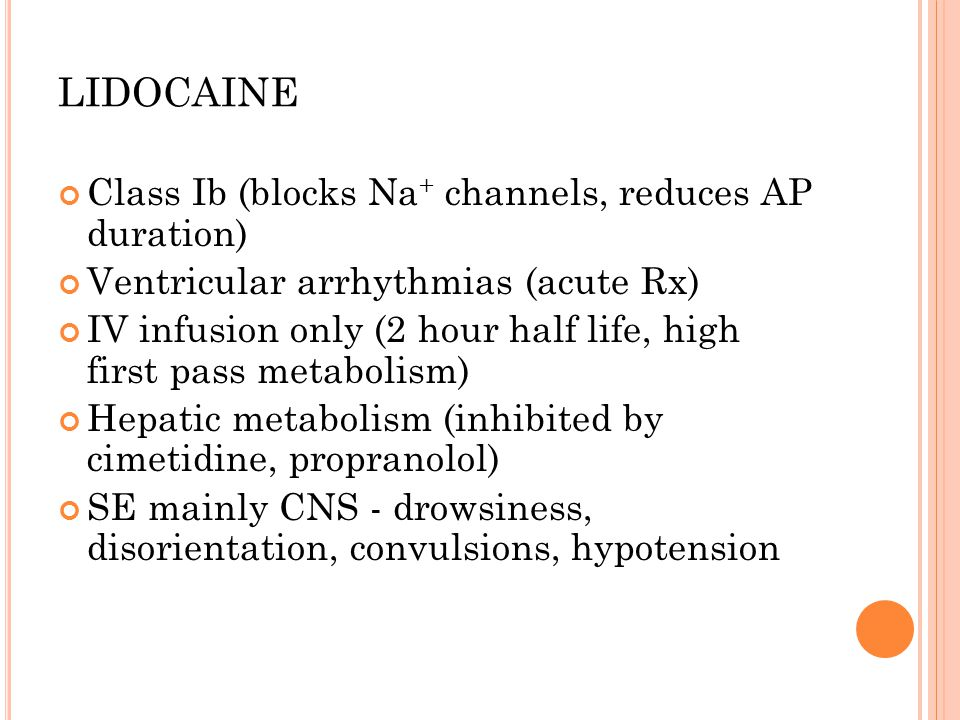 LIDOCAINE Class Ib (blocks Na+ channels, reduces AP duration)