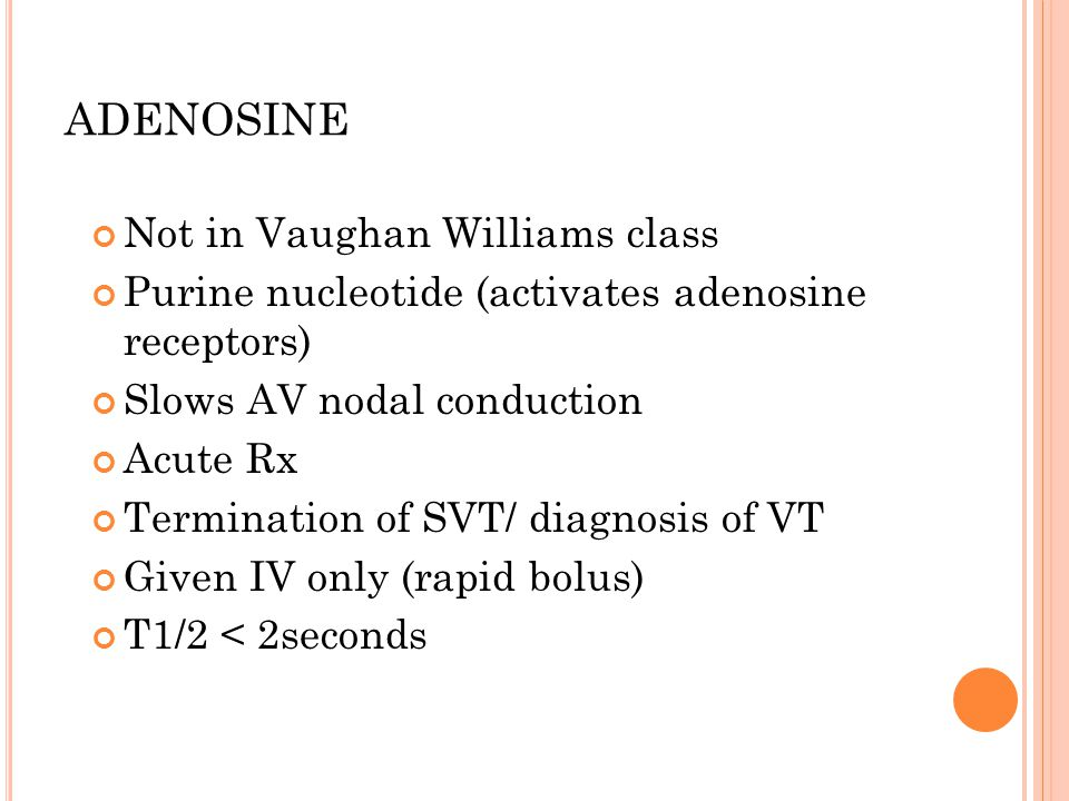 ADENOSINE Not in Vaughan Williams class