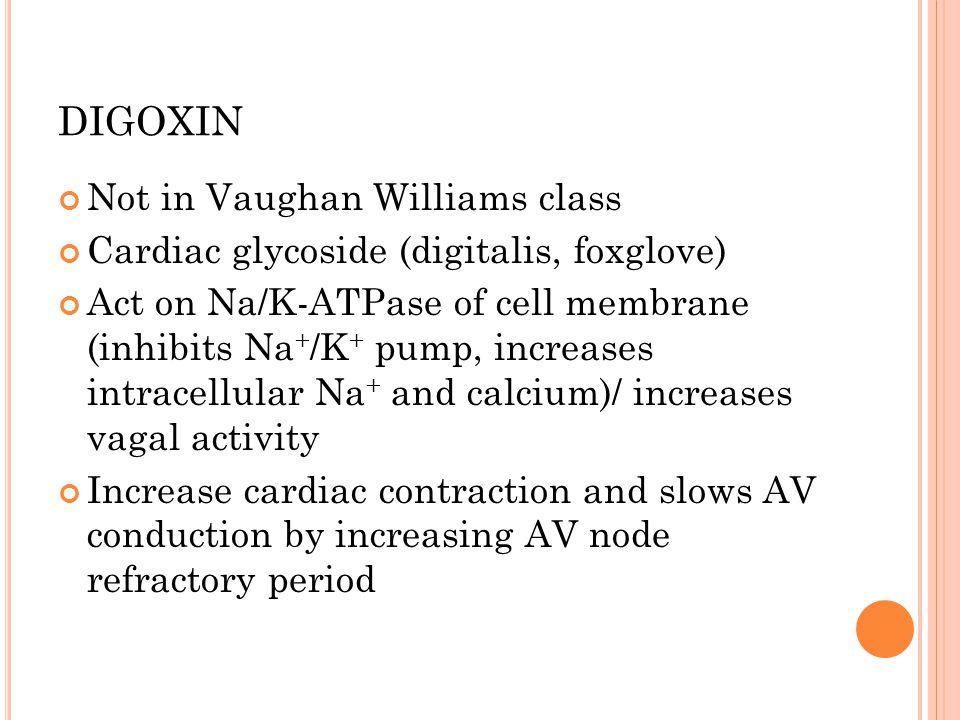 DIGOXIN Not in Vaughan Williams class