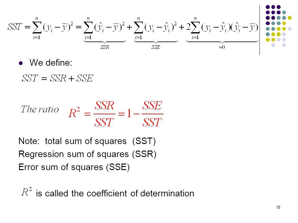 We define: Note: total sum of squares (SST) Regression sum of squares (SSR) Error sum of squares (SSE)