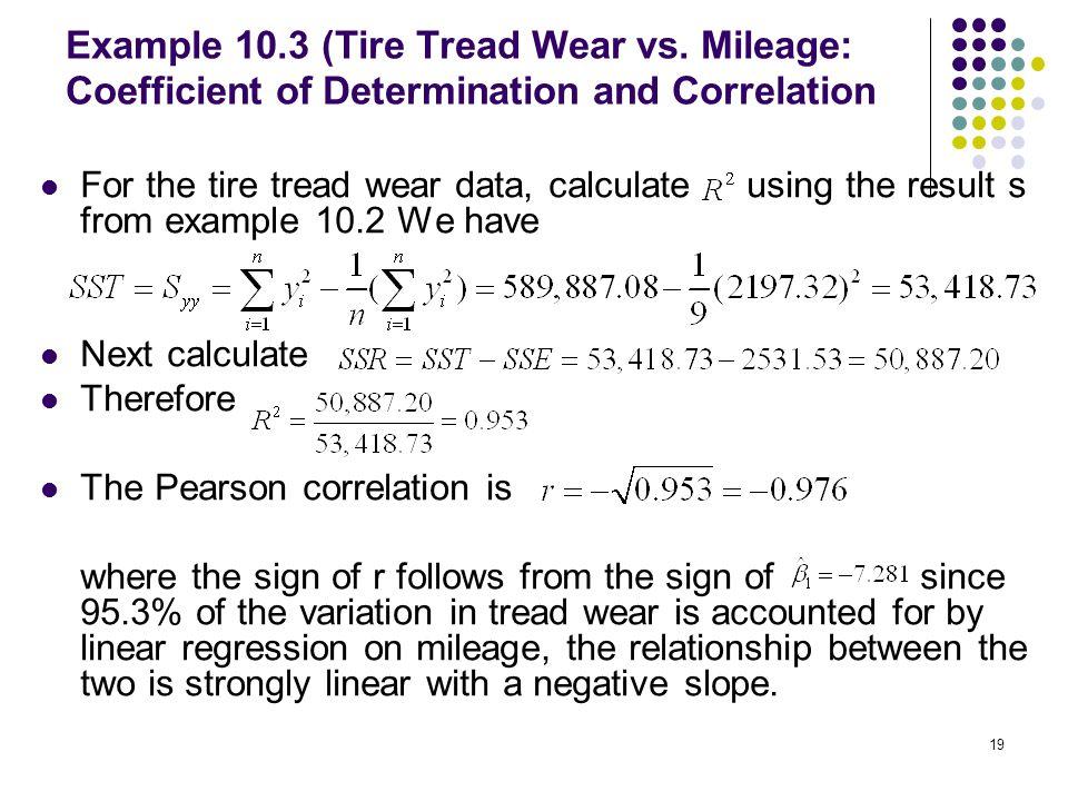 Example 10. 3 (Tire Tread Wear vs