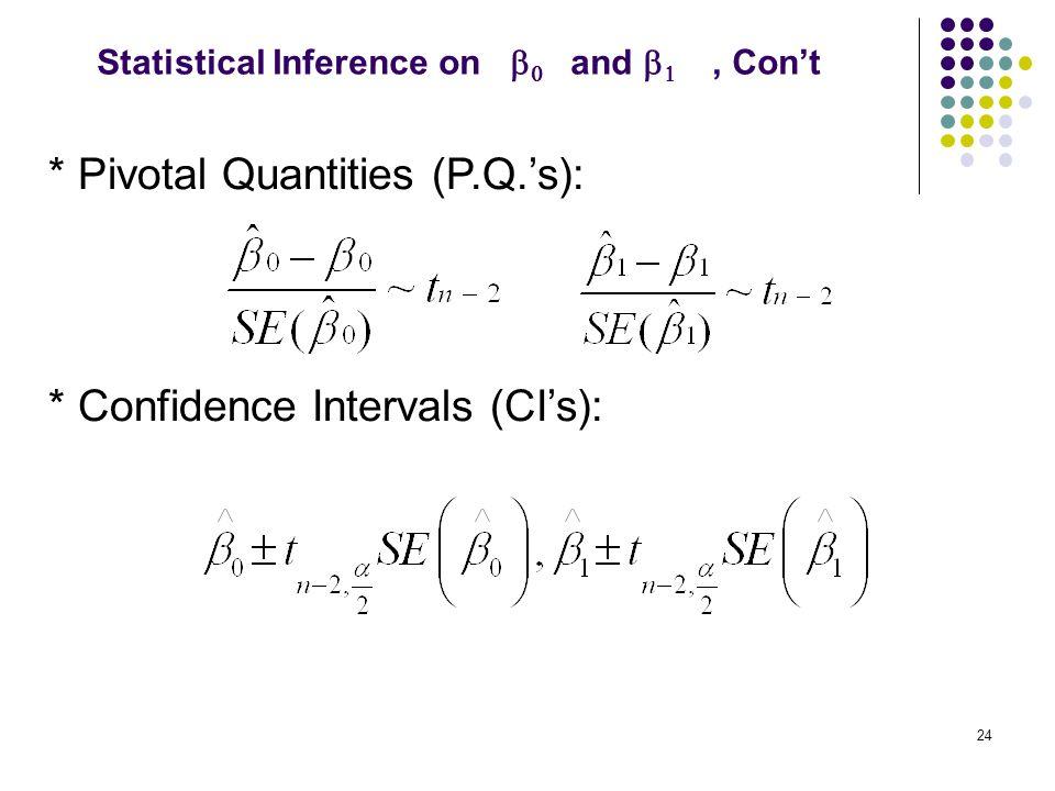 * Pivotal Quantities (P.Q.'s):