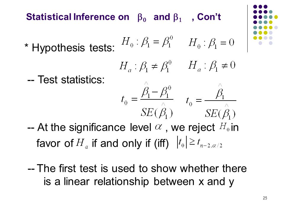 Statistical Inference on b0 and b1 , Con't