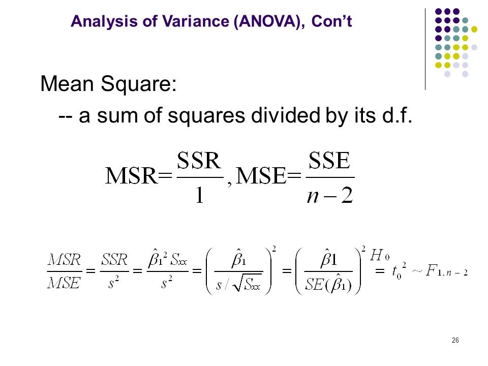 -- a sum of squares divided by its d.f.