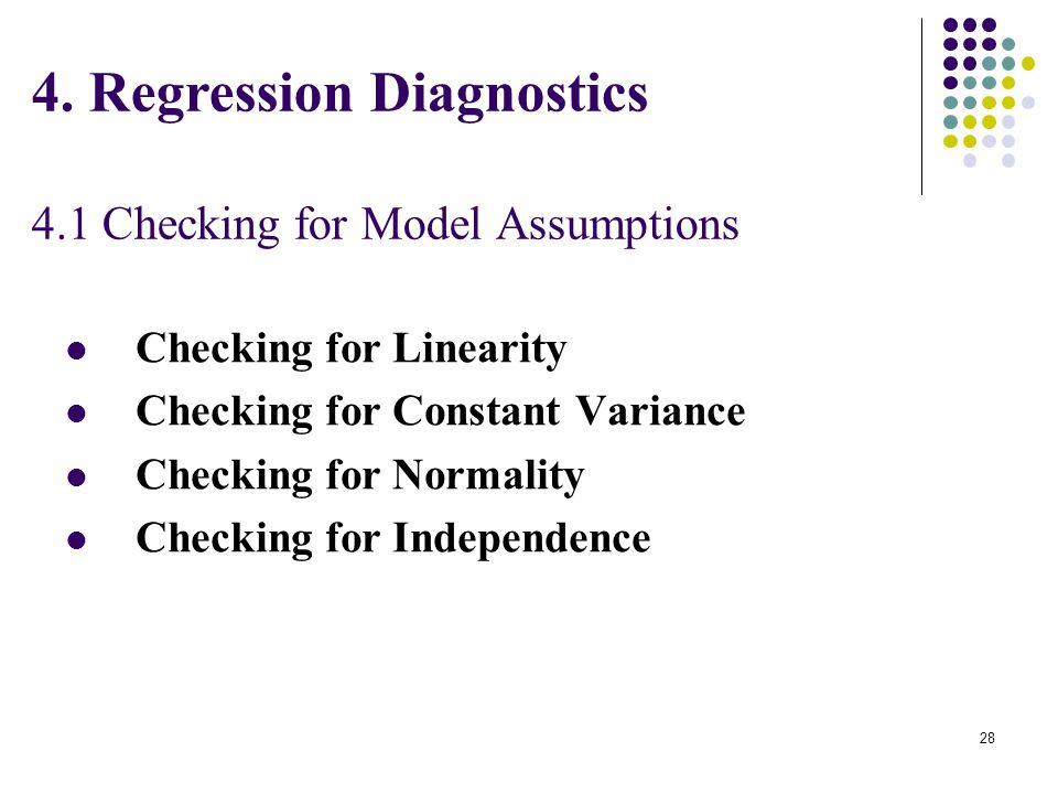 4. Regression Diagnostics 4.1 Checking for Model Assumptions