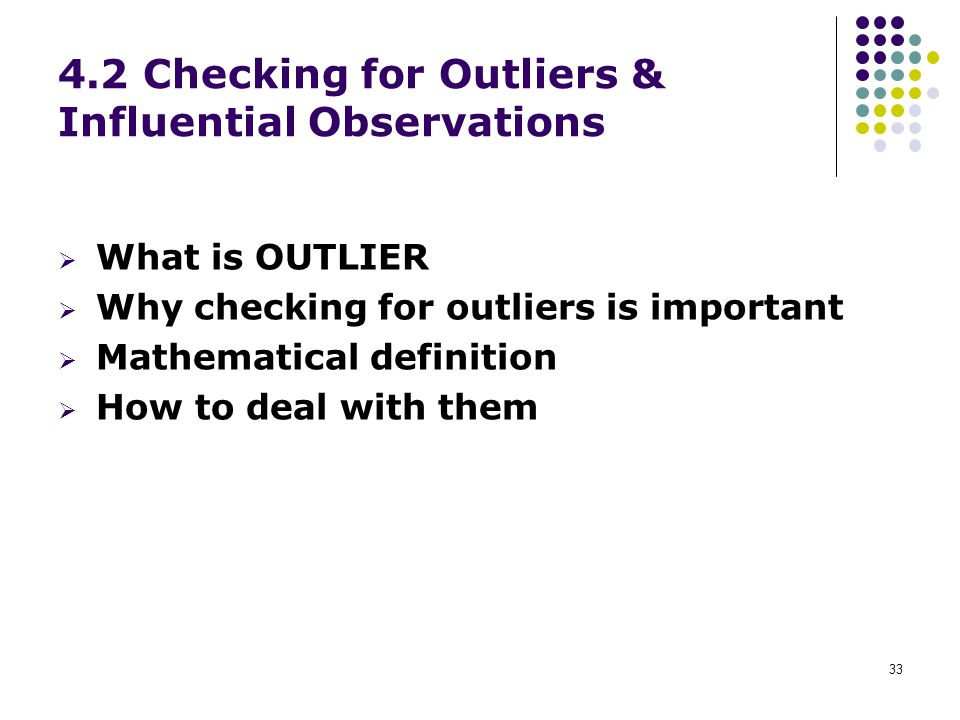 4.2 Checking for Outliers & Influential Observations
