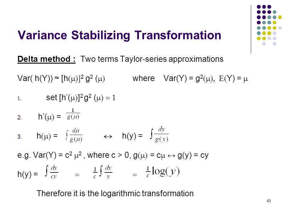 Variance Stabilizing Transformation