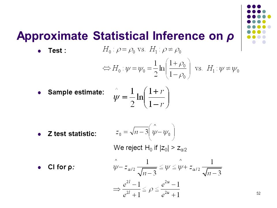 Approximate Statistical Inference on ρ