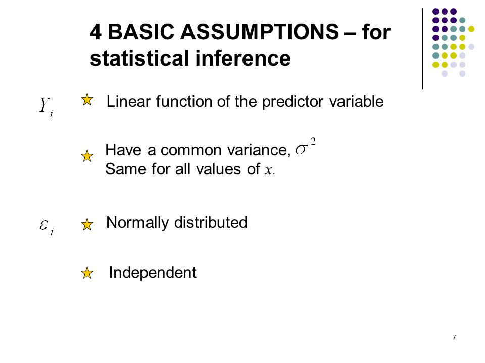 4 BASIC ASSUMPTIONS – for statistical inference