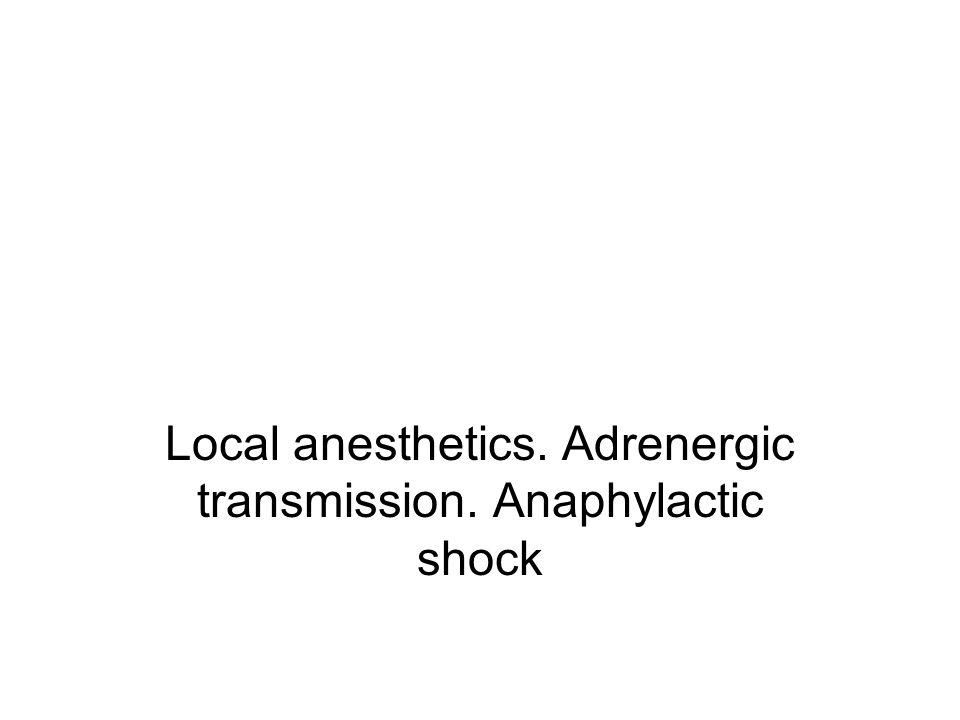 Local anesthetics. Adrenergic transmission. Anaphylactic shock