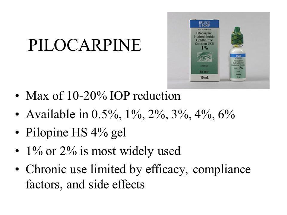 PILOCARPINE Max of 10-20% IOP reduction