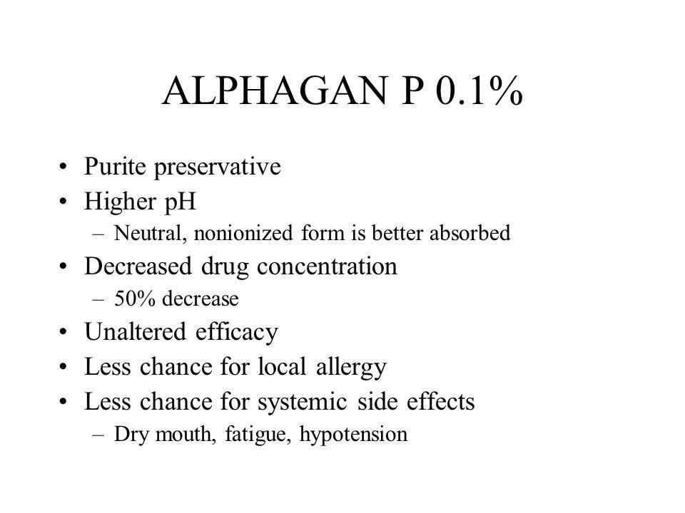 ALPHAGAN P 0.1% Purite preservative Higher pH