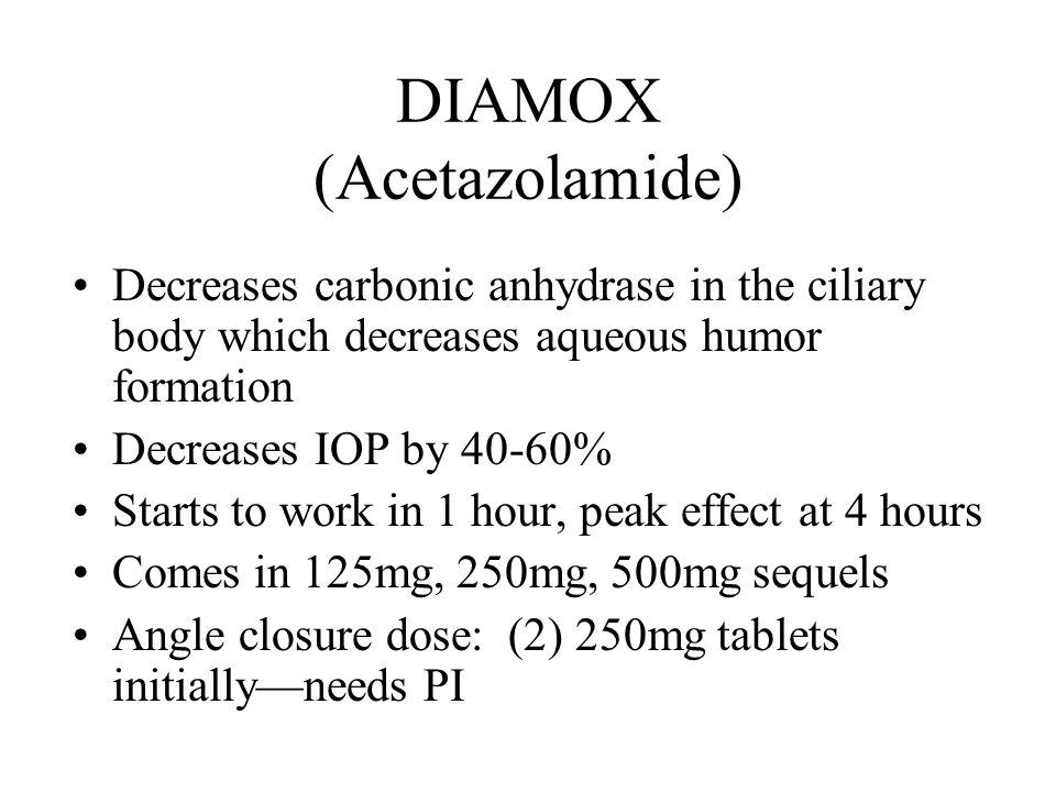 Diamox Sequels Or Acetazolamide