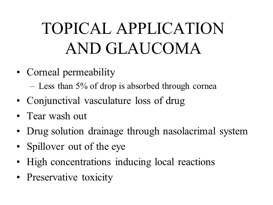 TOPICAL APPLICATION AND GLAUCOMA