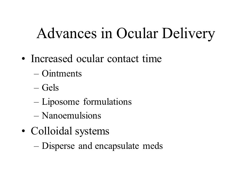Advances in Ocular Delivery