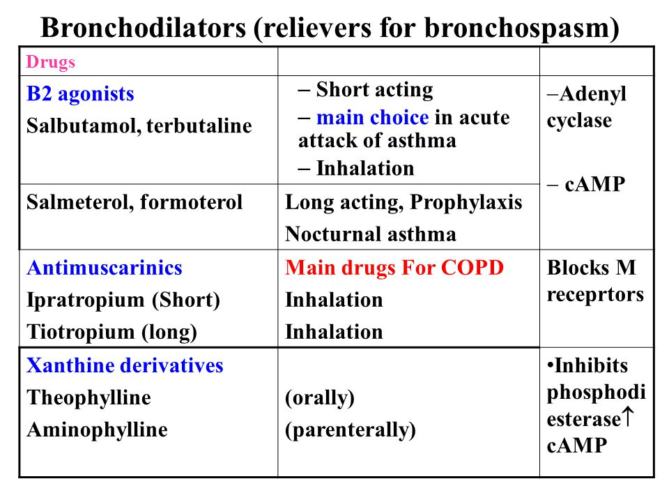 Bronchodilators (relievers for bronchospasm)