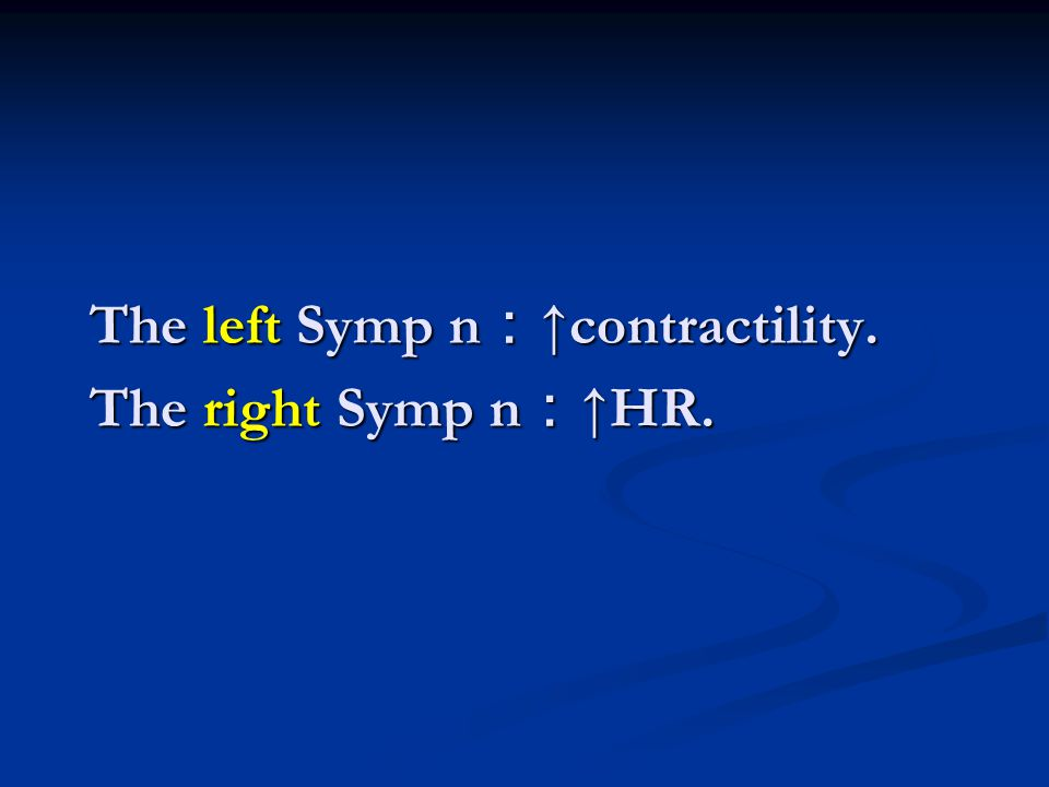 The left Symp n:↑contractility. The right Symp n:↑HR.