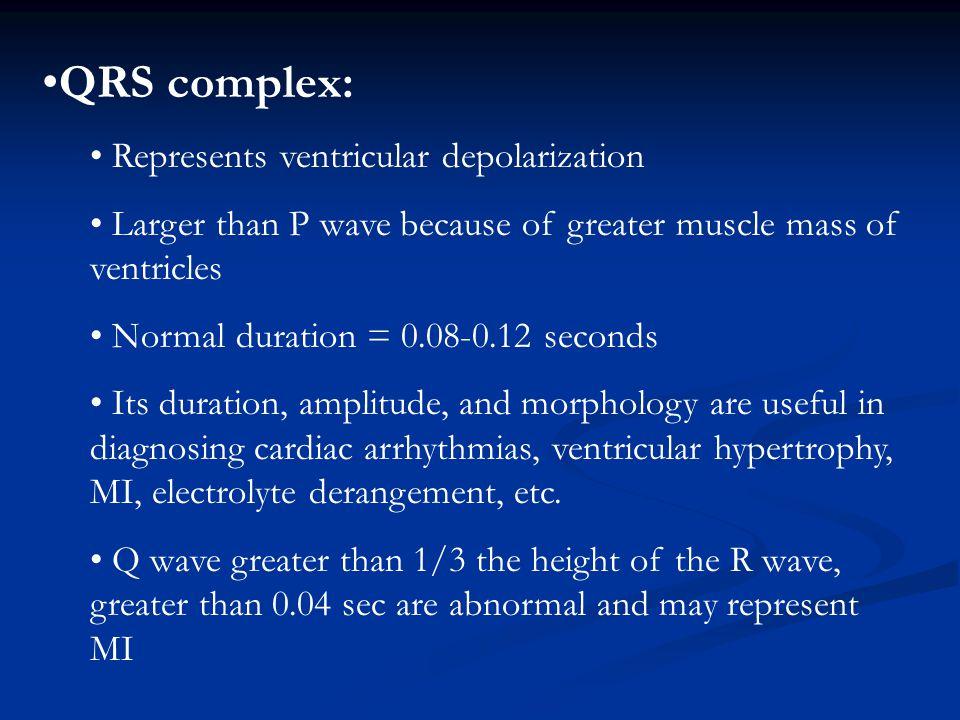QRS complex: Represents ventricular depolarization
