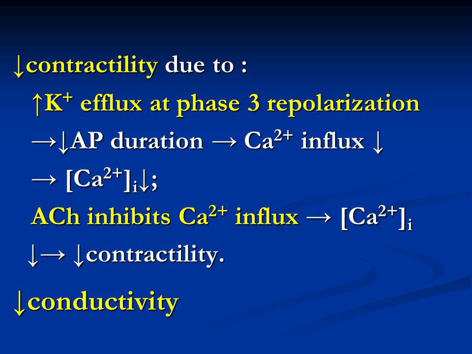 ↓contractility due to :