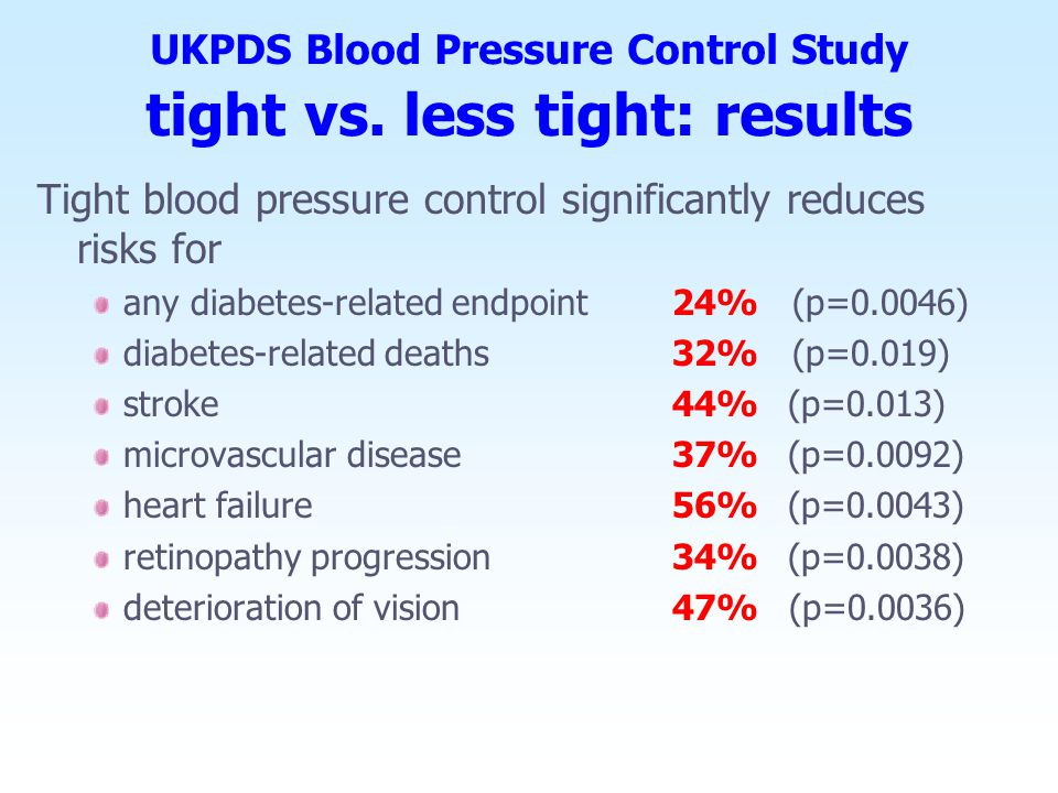 UKPDS Blood Pressure Control Study tight vs. less tight: results