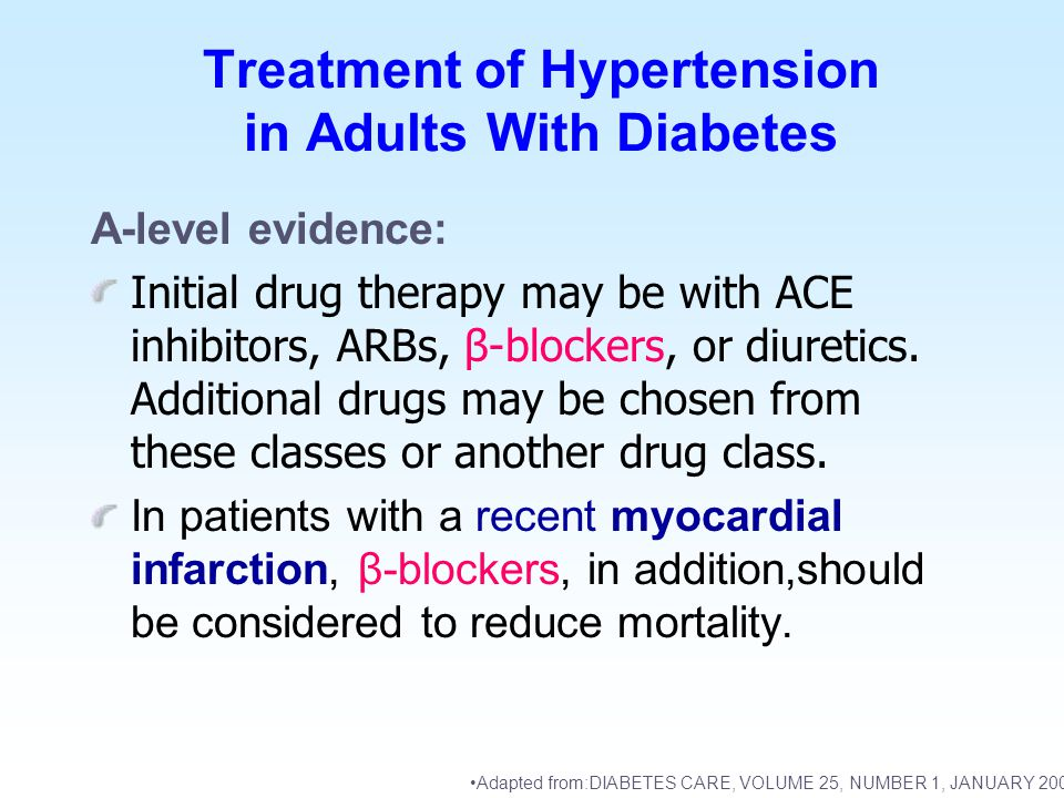 Treatment of Hypertension in Adults With Diabetes