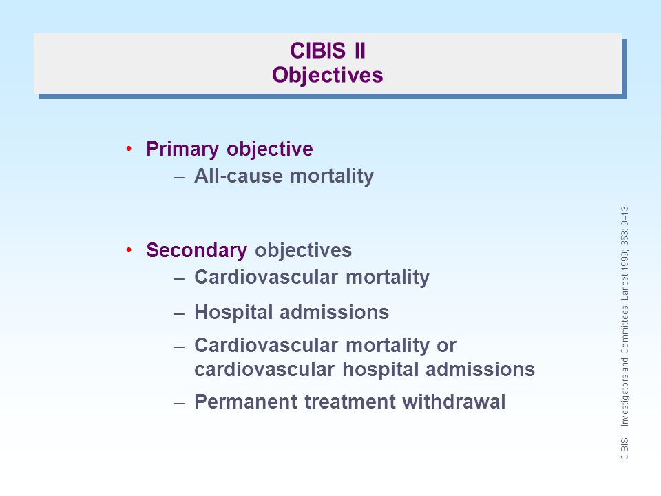 CIBIS II Objectives Primary objective All-cause mortality