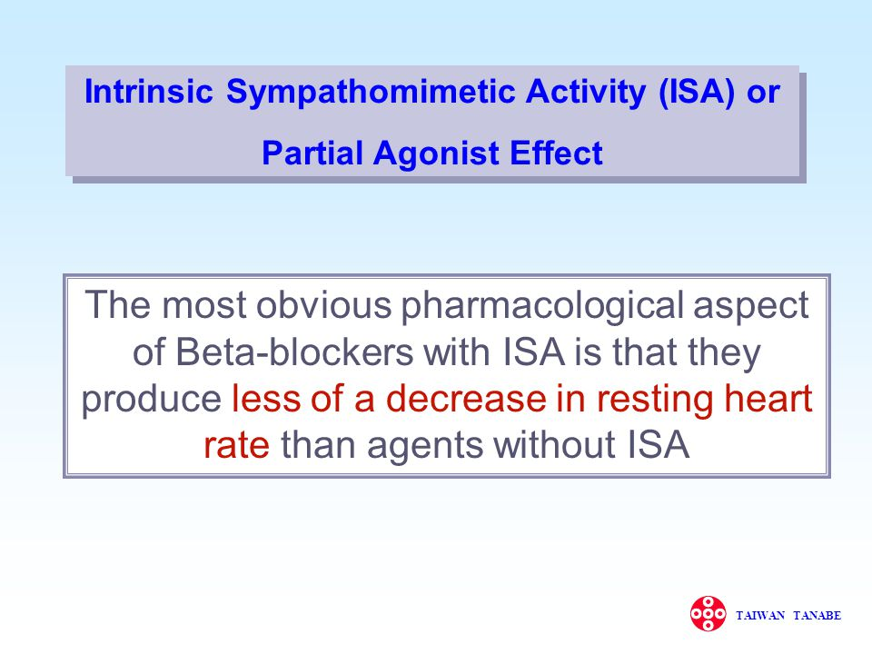 Intrinsic Sympathomimetic Activity (ISA) or Partial Agonist Effect