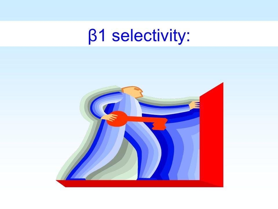 β1 selectivity: Beta1選擇性可以說是beta-blocker相當重要的突破點之一