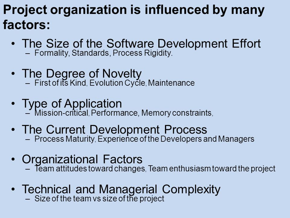 Project organization is influenced by many factors: