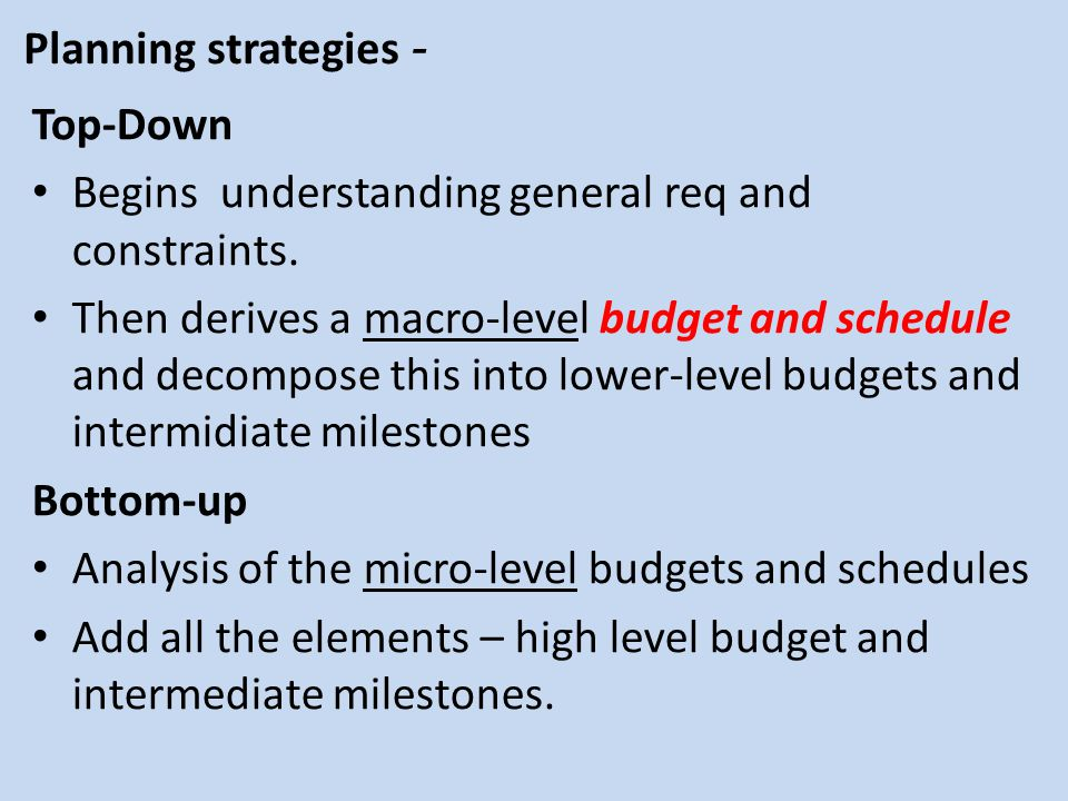 Planning strategies - Top-Down. Begins understanding general req and constraints.